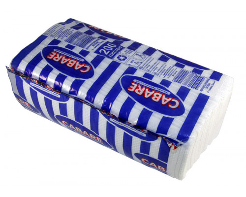 CABARE полотенца бумажные листовые белые V-сл ,2-сл. Стандарт, 200 л