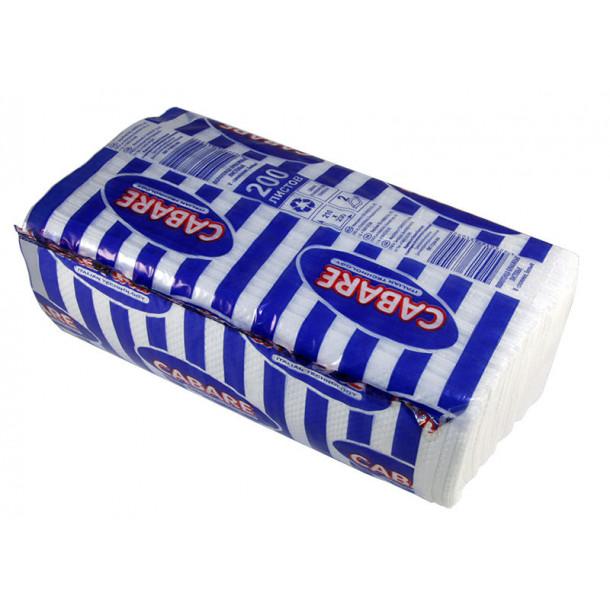 CABARE полотенца бумажные листовые белые V-сл ,2-сл. Стандарт, 200 л 23*21 см