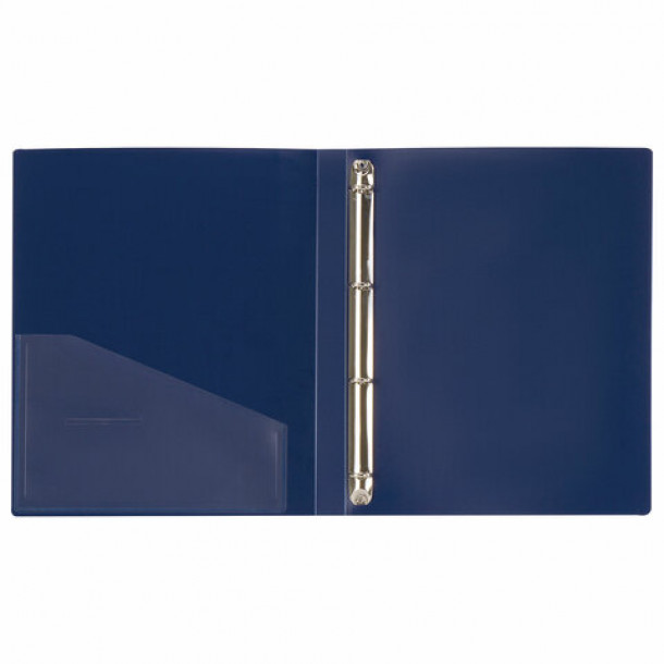 Папка 4 кольца мягкая с карманом А4 (25 мм.) синяя