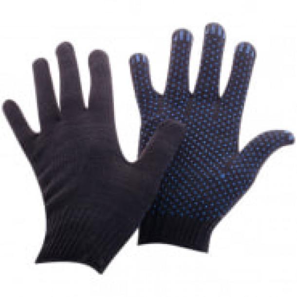 Перчатки рабочие х/б с точ. ПВХ покрытием, 4 нитки, 10 класс,черные