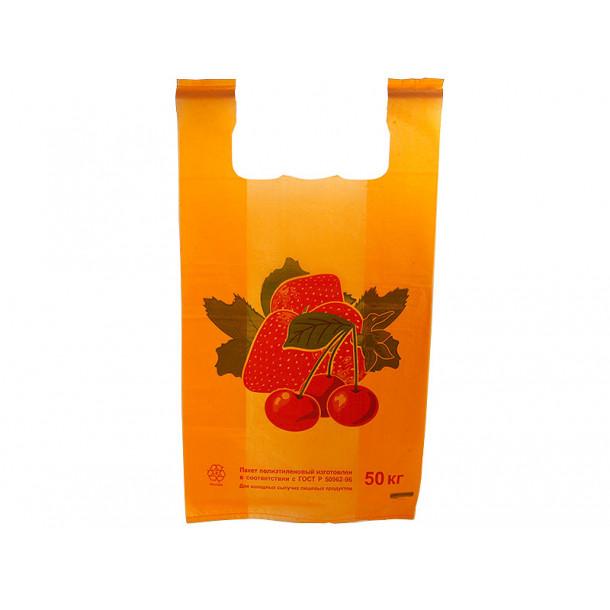 Пакет Майка Клубника (30 х 54 см.) 100 шт