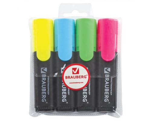 Набор маркеров текстовых Brauberg 4 цвета