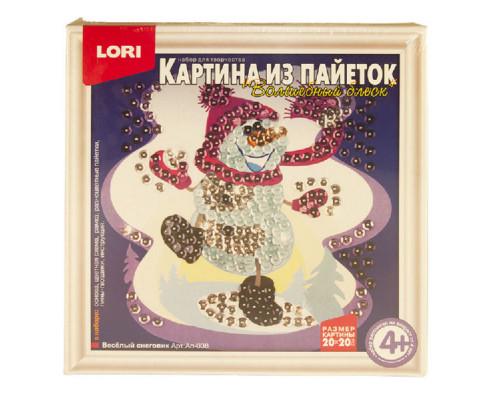 Картина из пайеток Веселый снеговик