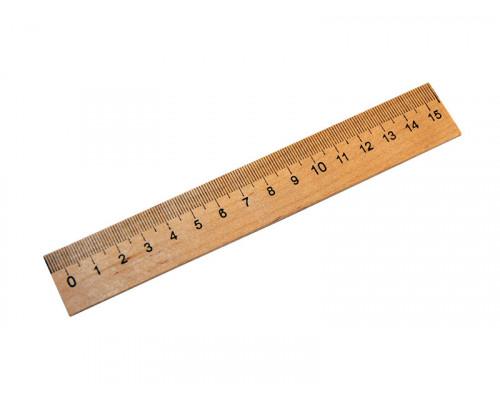 Линейка 15 см. деревянная
