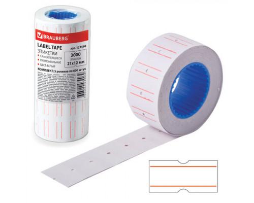 Этикет-лента 021x012 мм. (600 шт.) прямоугольная белая
