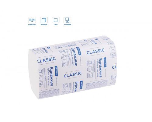 OfficeClean полотенца бумажные листовые белые V-сл, 2-сл.,200л, 21*21
