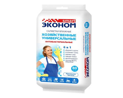 Smart вл.салфетки Антибактериальные Хозяйственные 6в1  80 шт.