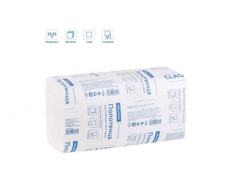 OfficeClean полотенца бумажные листовые белые (ZZ) V-сл, 1-сл.,250л, 23х23