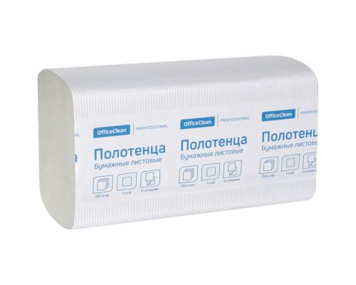OfficeClean полотенца бумажные листовые белые V-сл, 1-сл.,250л, 21х21,6
