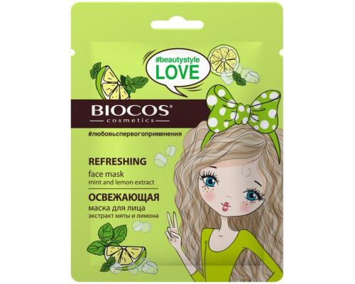 BioCos Маска тканевая для лица Освежающая (экстракт мяты и лимона)
