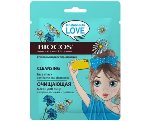 BioCos Маска тканевая для лица Очищающая (экстракт василька и ромашки)