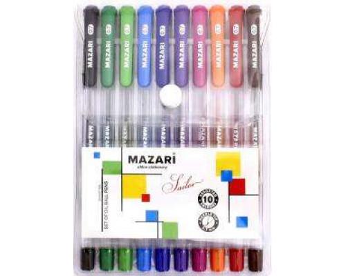 Ручка шариковая набор Mazari Sailor 10цв, 0,7мм
