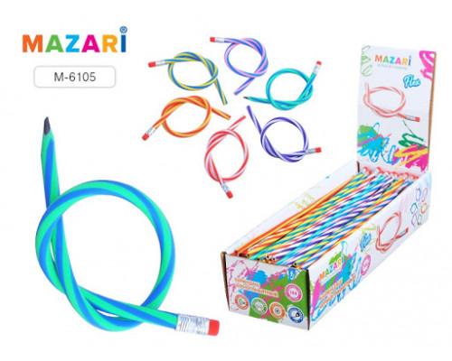 Карандаш Mazari Flex HB твердо-мягкий  с ластиком, пластиковый гибкий корпус