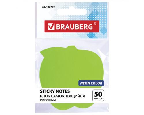 Стикер Brauberg фигурный Яблоко (50 л.) зеленый неон