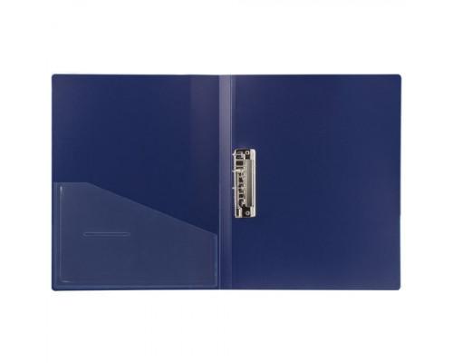 Папка с зажимом и карманом Brauberg  А4 синяя