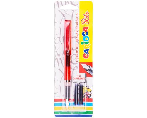 Ручка перьевая Carioca Stilo, синяя, 1,0мм, +2 картриджа, корпус ассорти