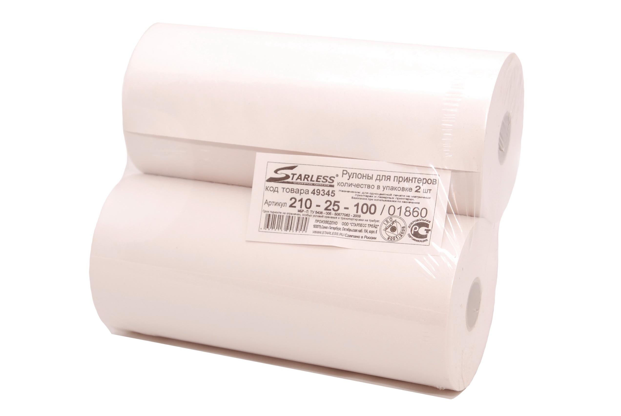 Бумага рулонная 210 мм. (055 г/м.) диаметр втулки 25 мм. (SuperLux) 55 м. без перфорации
