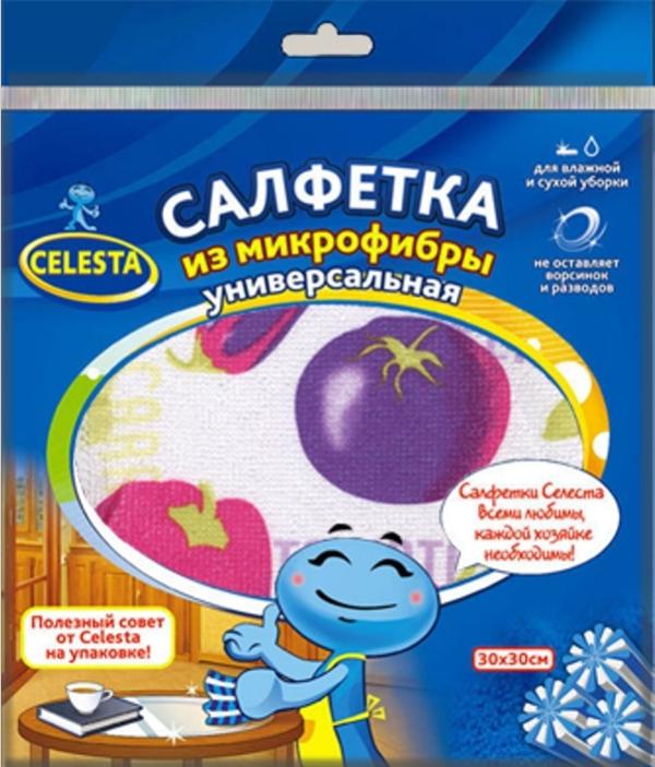 CELESTA салфетки из микрофибры универсальные+CELESTA скребок нержавеющий (1шт.)