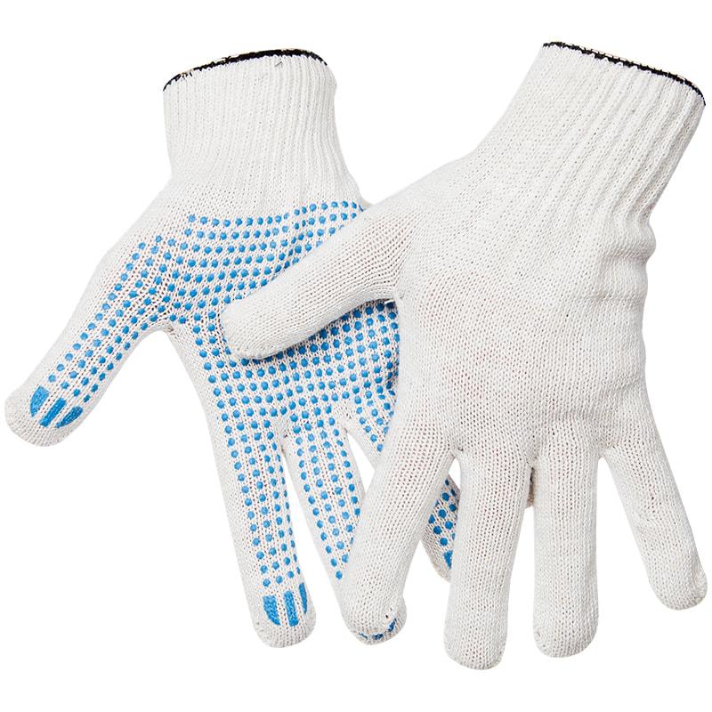 Перчатки рабочие х/б с точ. ПВХ покрытием, 4 нитки, 10 класс белые
