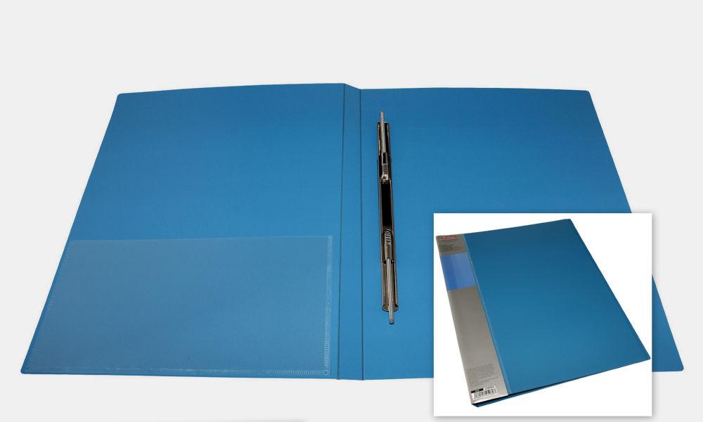 Папка с усами и карманом Berlingo A4 синяя