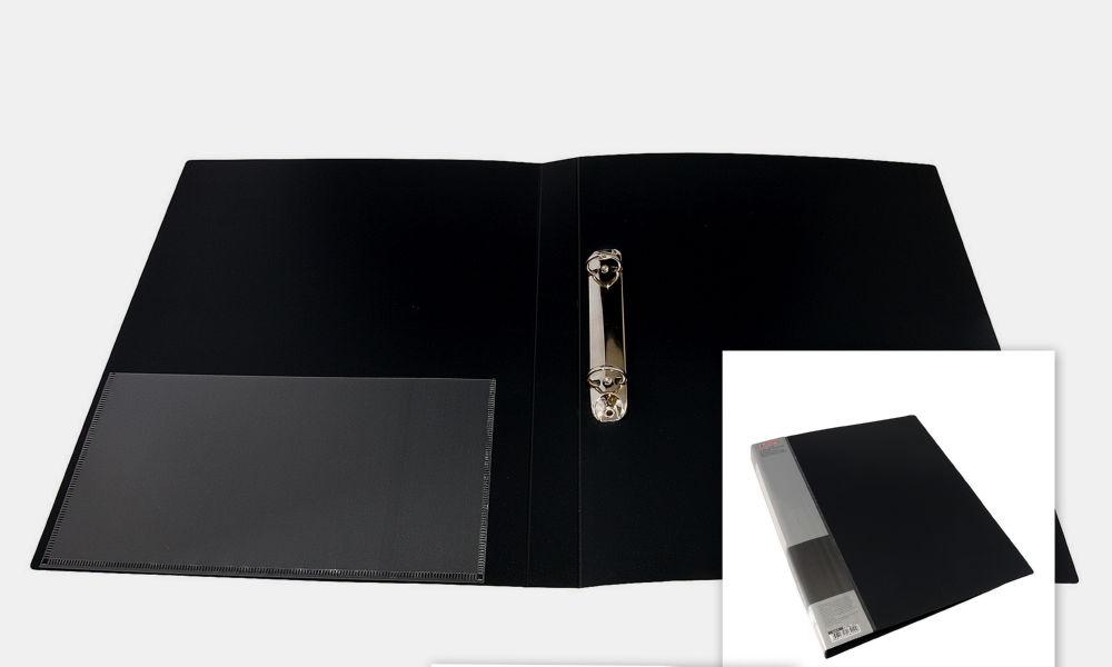 Папка 2 кольца мягкая с карманом А4 (25 мм.) черная