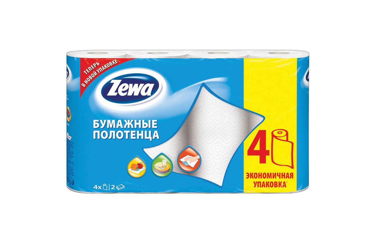 Zewa полотенце бумажное 2-сл 14м/рул (4 рулона)
