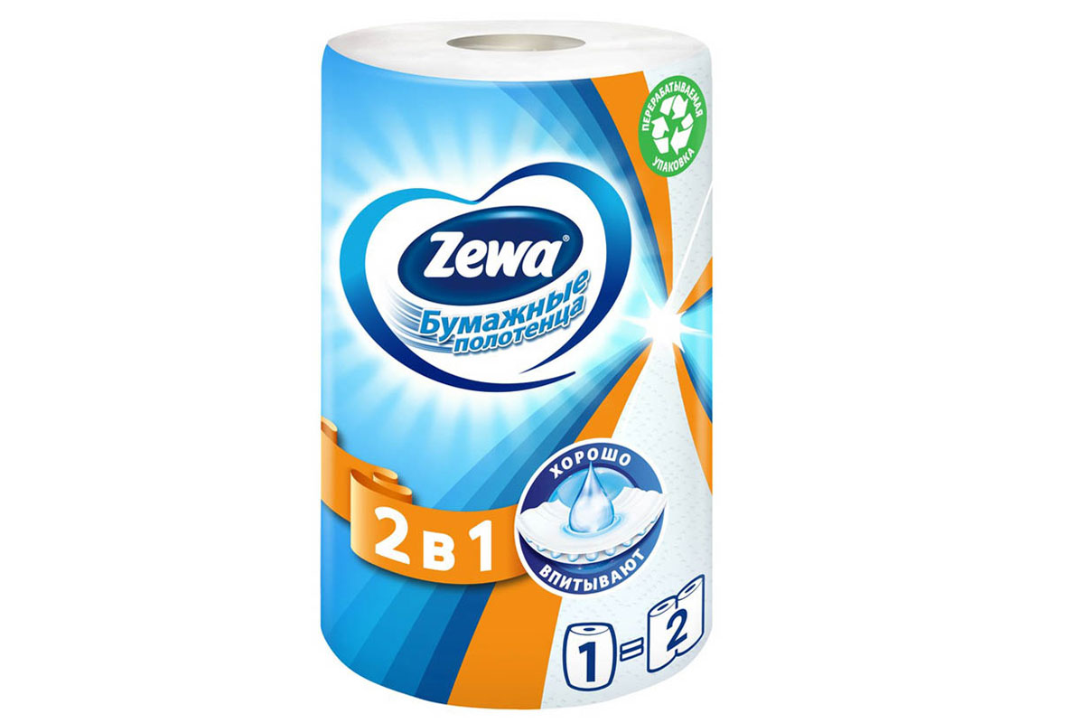 Zewa полотенце бумажное 2в1 2-сл 28м