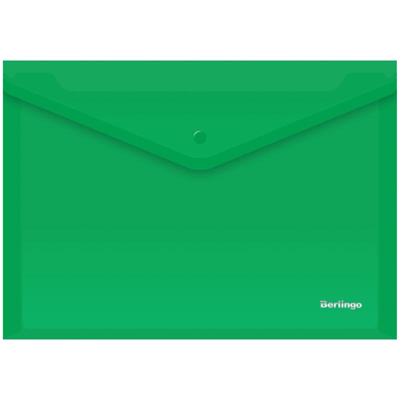 Папка-конверт с кнопкой Berlingo A4 зеленая