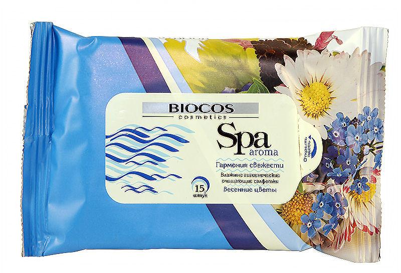 BioCos вл.салфетки SPA Весенние цветы 15 шт.