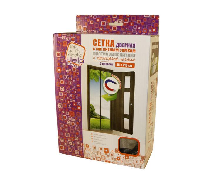 Сетка-штора Help на дверь противомоскитная с магнитным замком, с крепежной лентой 45х210 см (02 шт)