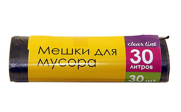 Clear Line пакеты д/мусора Выгодно!  30л (30шт) 5 мкм