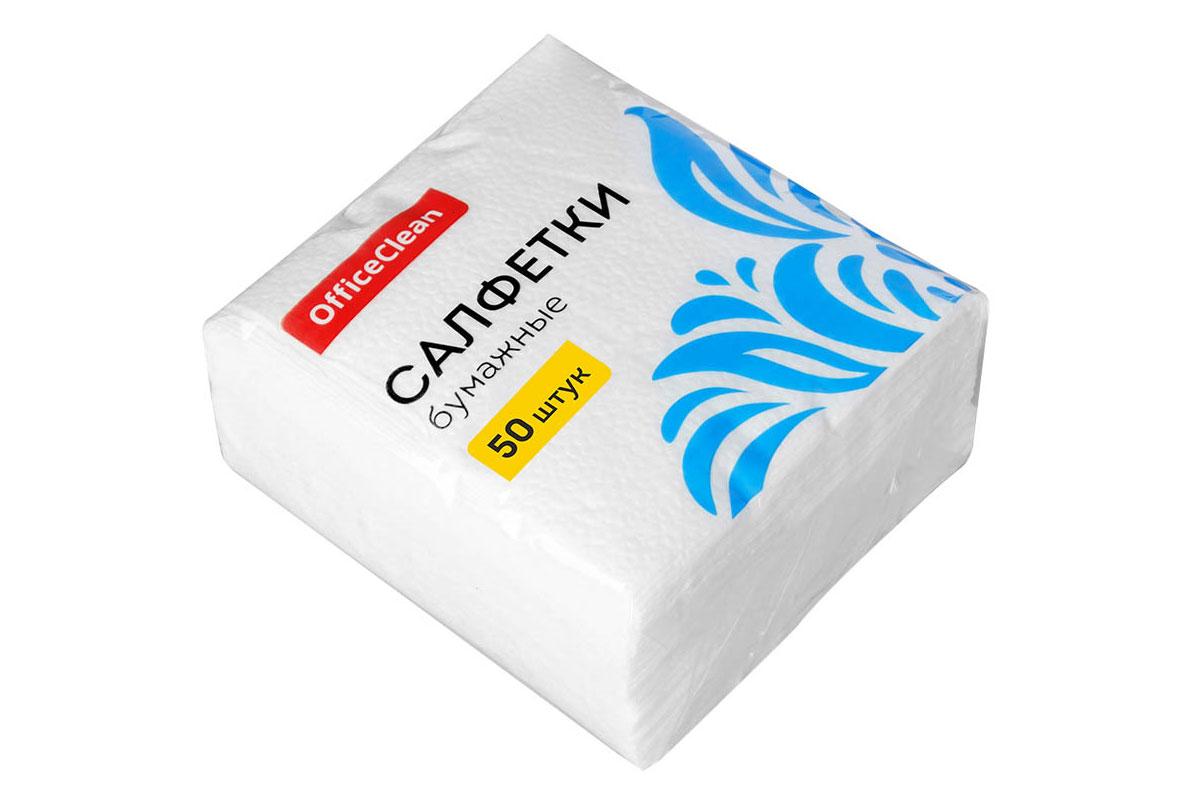 OfficeClean салфетка столовая 1 сл 24*24 (50 шт) Белая