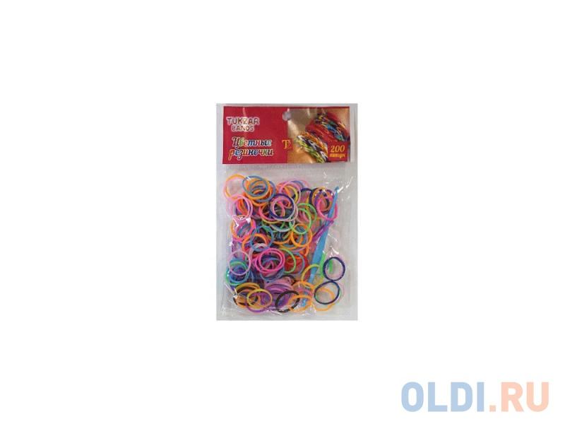 Набор цветных резиночек Tukzar для детского творчества, 200 резиночек, разноцветные в пакете