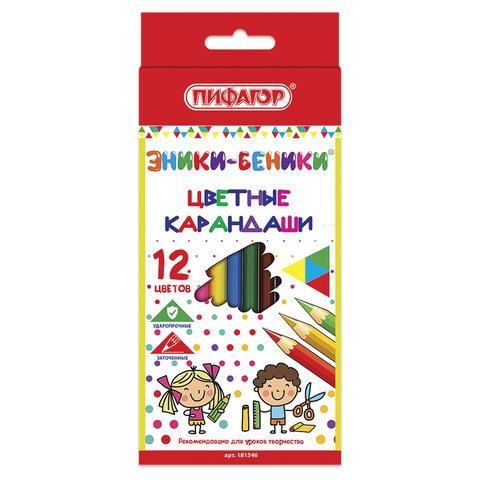 Карандаши цветные 12 шт. Пифагор Эники-беники