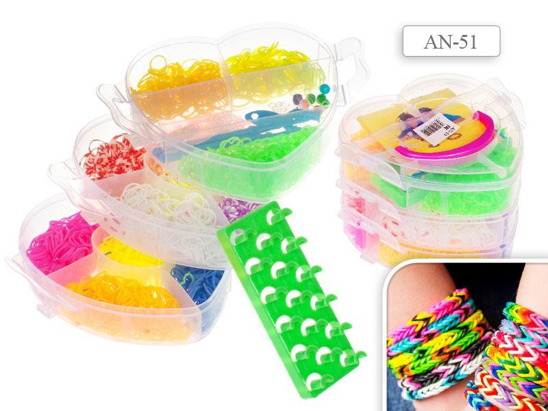 Набор цветных резиночек Tukzar для детского творчества Яблоко 550 резиночек