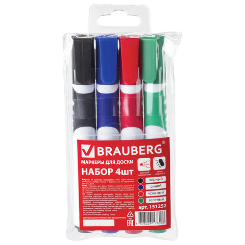 Набор маркеры для досок Brauberg 4 шт.
