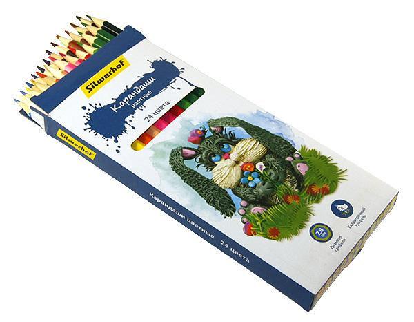 Карандаши цветные 24 шт Silwerhof Сказочная коллекцияшестигранные