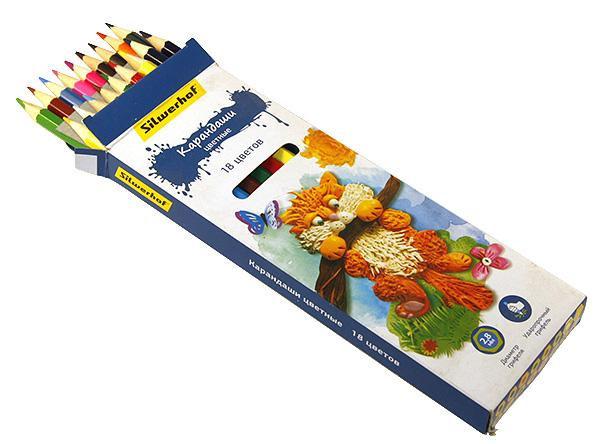 Карандаши цветные 18 шт Silwerhof Сказочная коллекцияшестигранные