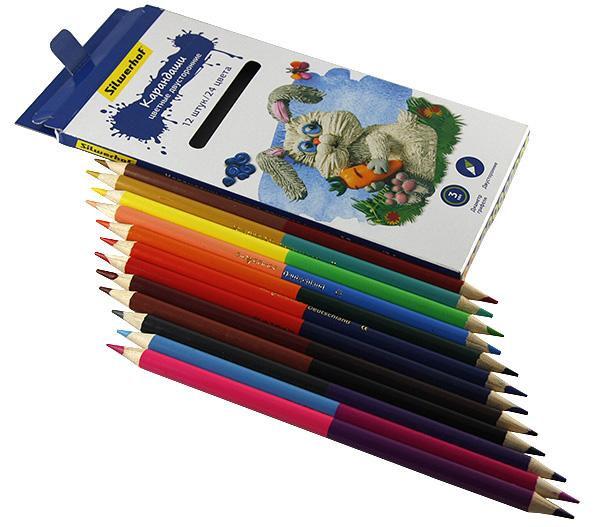 Карандаши цветные 12шт/24 цвета Silwerhof Сказочная коллекцияшестигранные