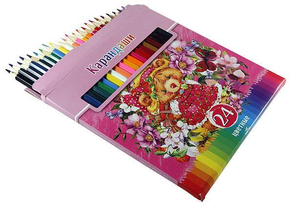 Карандаши цветные 24 цвета Забавные пушистики