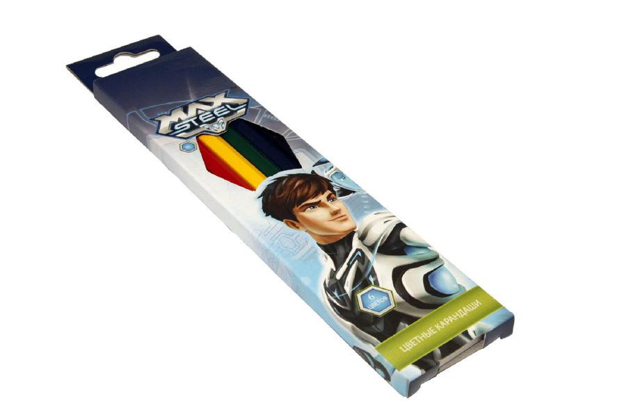 Карандаши цветные 06 шт Max Steel
