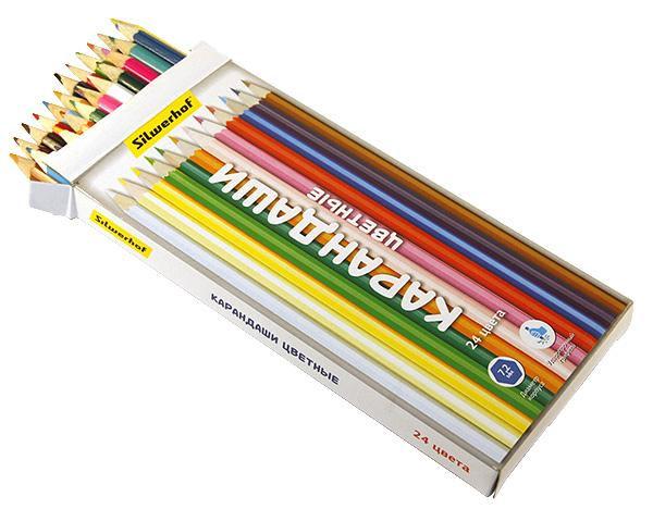 Карандаши цветные 24 шт Silwerhof Народная коллекцияшестигранные