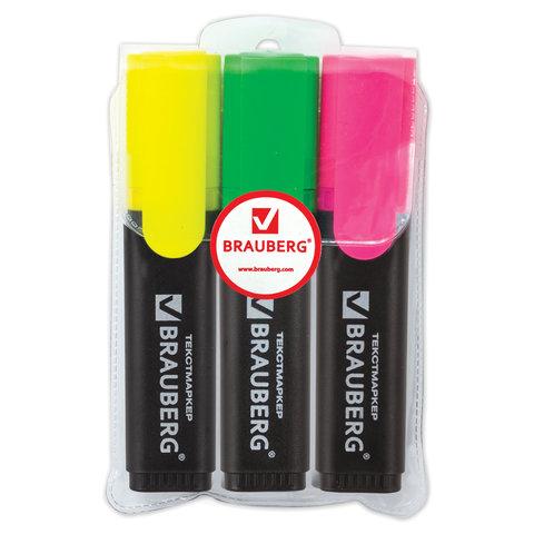 Набор маркеров текстовых Brauberg 3 цвета