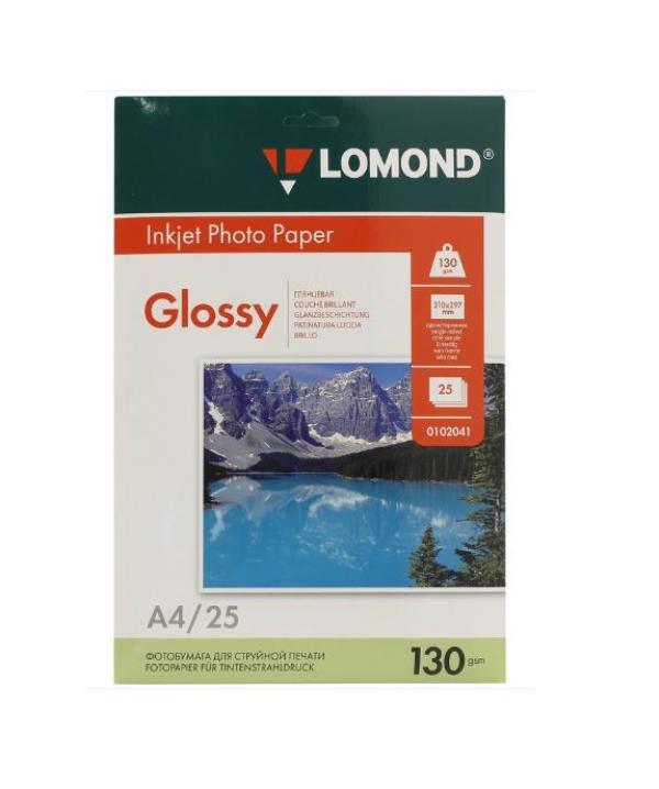 Фотобумага глянцевая Lomond A4 (130 г/м) 025 л.