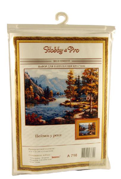 Набор для вышивания Hobby&Pro Пейзаж у реки 42х32 см
