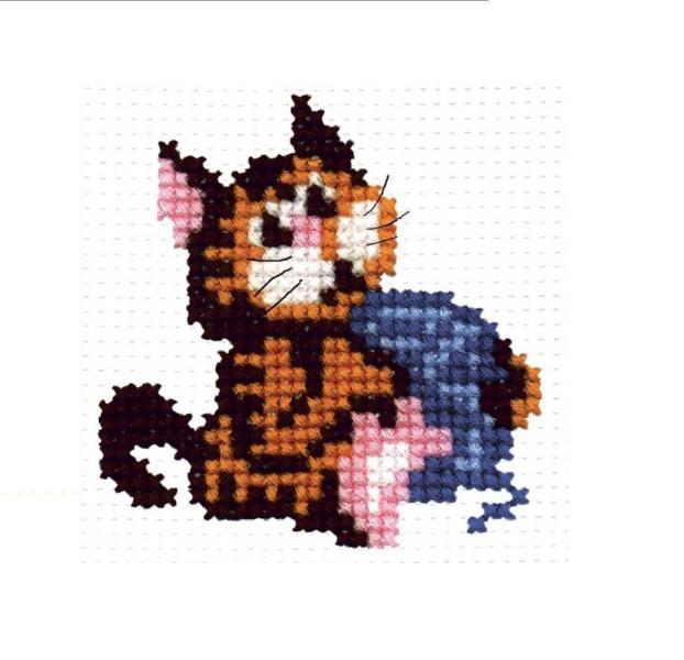 Набор для вышивания Р-Студия Кошка с клубочком 8х8 см