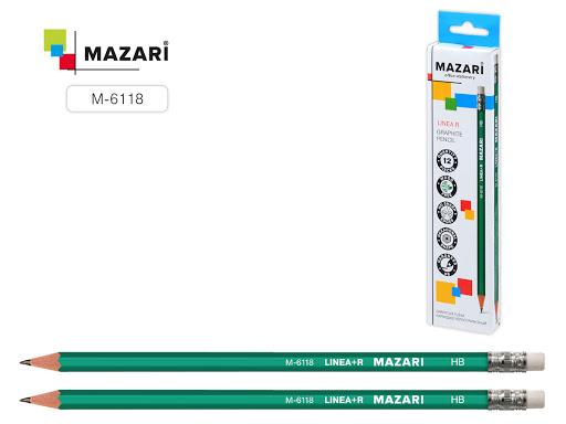 Карандаш Mazari Linea  HB твердо-мягкий с ластиком