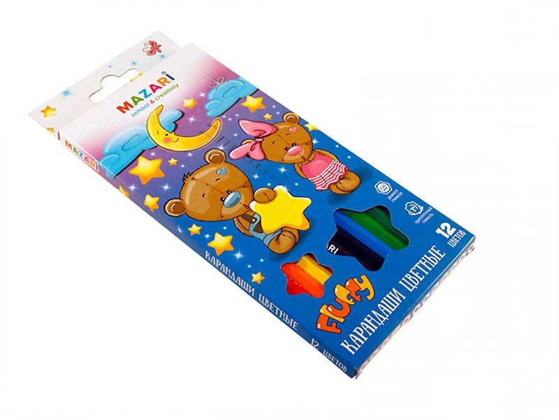 Карандаши цветные 12 шт Mazari Fluffy