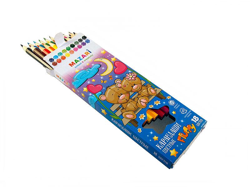 Карандаши цветные 18 шт Mazari Fluffy