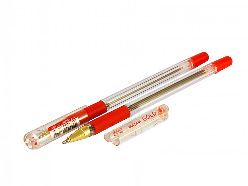 Ручка шариковая Mazari Gold красная (140)